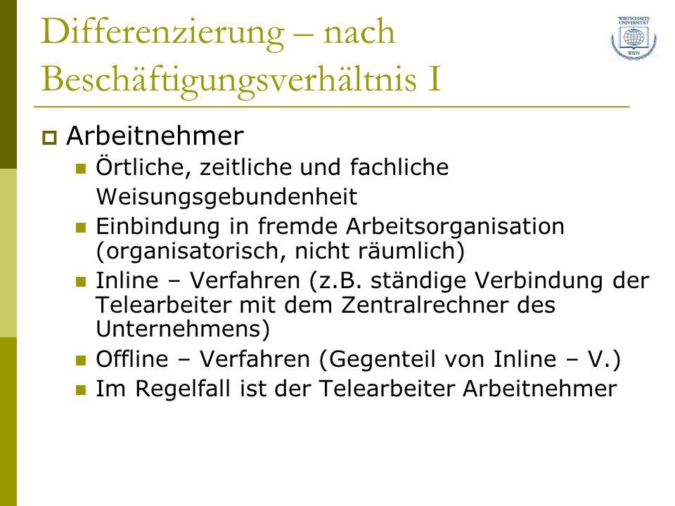 Differenzierung – nach Beschäftigungsverhältnis I Arbeitnehmer Örtliche, zeitliche und fachliche Weisungsgebundenheit Einbindung in fremde Arbeitsorganisation (organisatorisch, nicht räumlich) Inline – Verfahren (z.B.