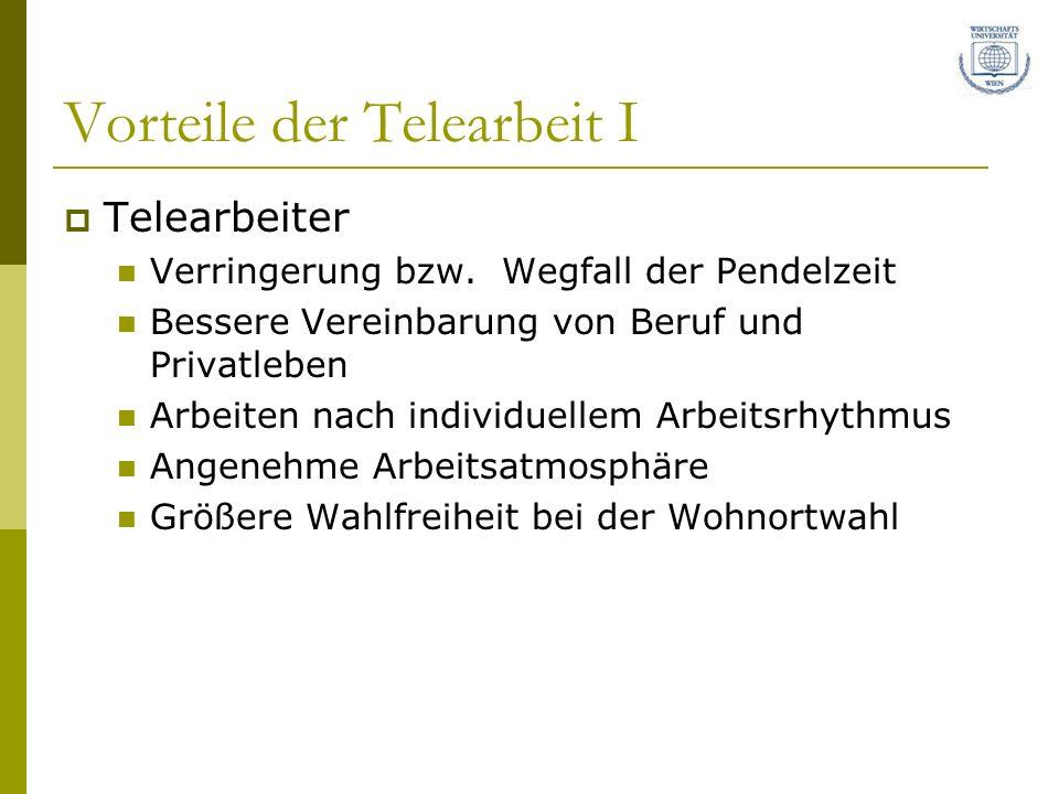 Vorteile der Telearbeit I Telearbeiter Verringerung bzw.