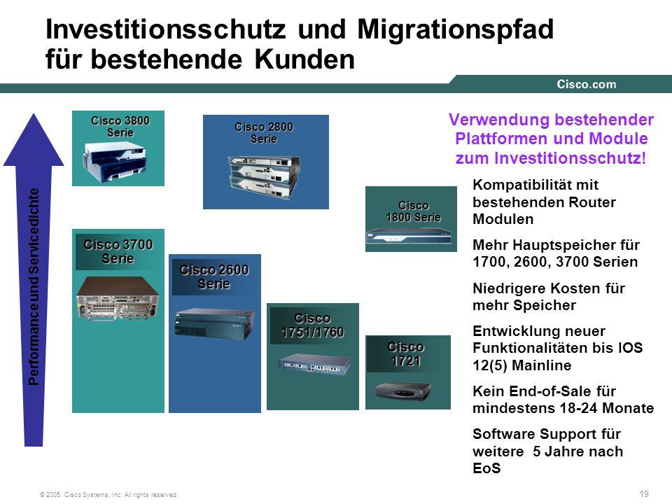 19 © 2005, Cisco Systems, Inc. All rights reserved. Cisco1721 Investitionsschutz und Migrationspfad für bestehende Kunden Cisco 3800 Serie Serie Cisco