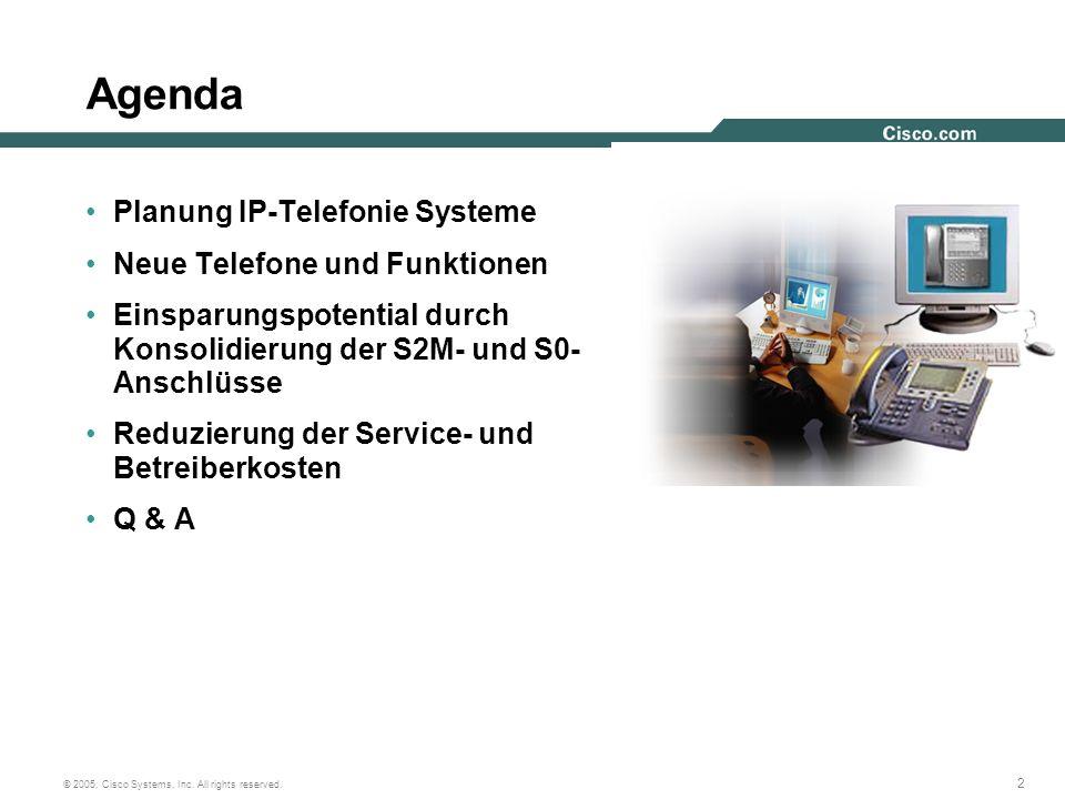 2 © 2005, Cisco Systems, Inc. All rights reserved. Agenda Planung IP-Telefonie Systeme Neue Telefone und Funktionen Einsparungspotential durch Konsoli