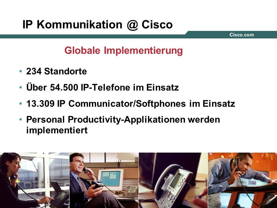46 © 2005, Cisco Systems, Inc. All rights reserved. IP Kommunikation @ Cisco 234 Standorte Über 54.500 IP-Telefone im Einsatz 13.309 IP Communicator/S