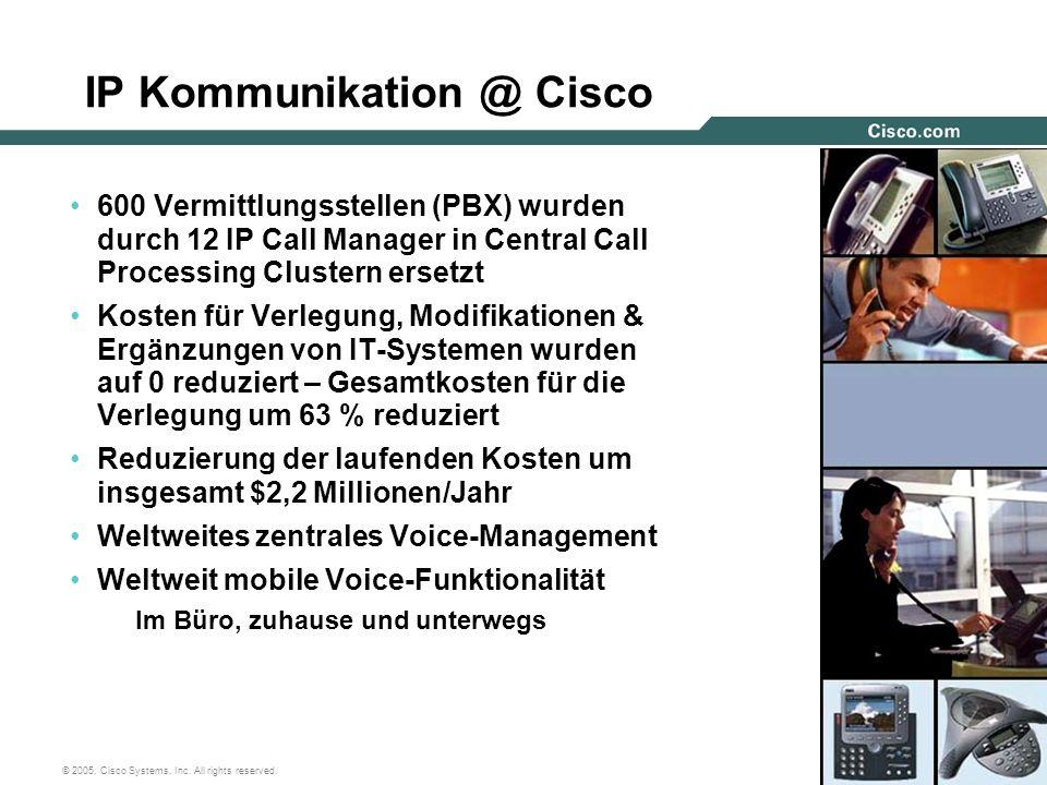 47 © 2005, Cisco Systems, Inc. All rights reserved. IP Kommunikation @ Cisco 600 Vermittlungsstellen (PBX) wurden durch 12 IP Call Manager in Central