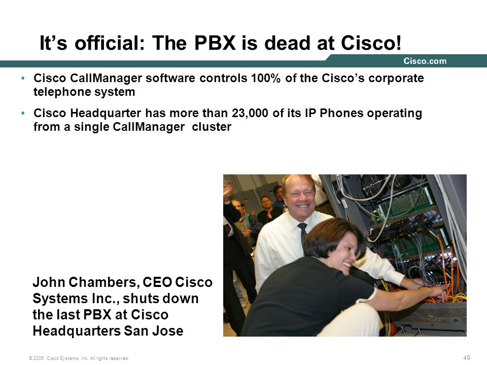 49 © 2005, Cisco Systems, Inc. All rights reserved. Its official: The PBX is dead at Cisco! Cisco CallManager software controls 100% of the Ciscos cor