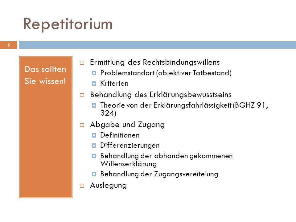 Repetitorium 5 Das sollten Sie wissen! Ermittlung des Rechtsbindungswillens Problemstandort (objektiver Tatbestand) Kriterien Behandlung des Erklärung