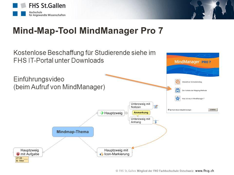 Mind-Map-Tool MindManager Pro 7 Kostenlose Beschaffung für Studierende siehe im FHS IT-Portal unter Downloads Einführungsvideo (beim Aufruf von MindManager)