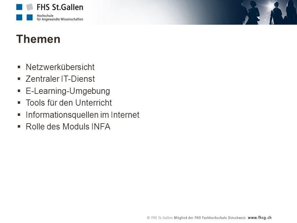 Themen Netzwerkübersicht Zentraler IT-Dienst E-Learning-Umgebung Tools für den Unterricht Informationsquellen im Internet Rolle des Moduls INFA