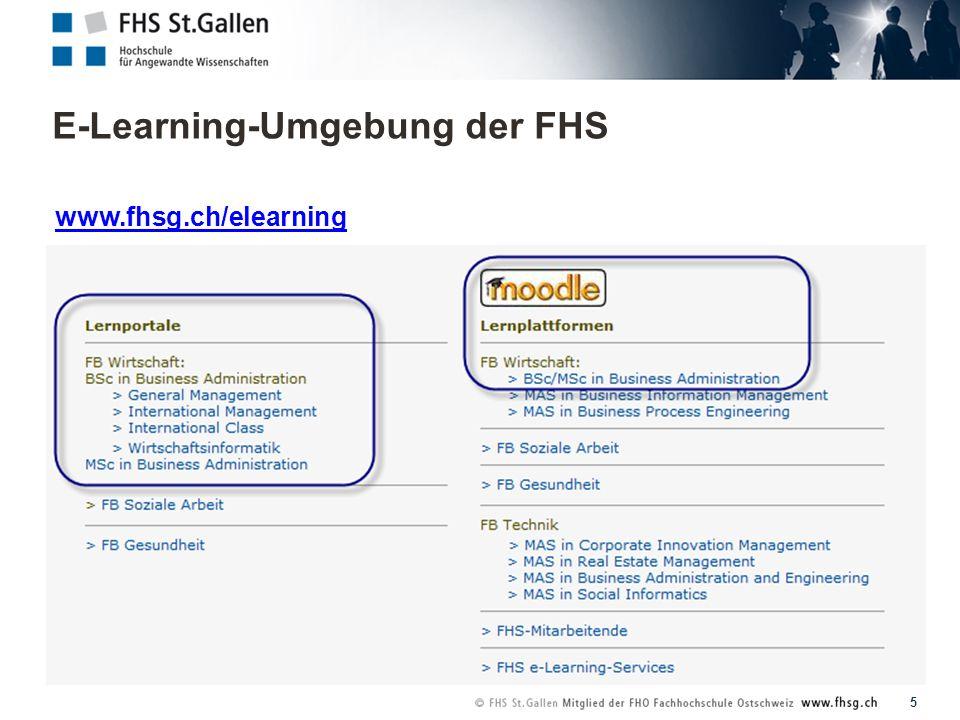 E-Learning-Umgebung der FHS 5 www.fhsg.ch/elearning