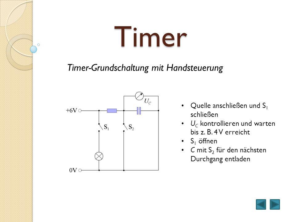 Timer Timer-Grundschaltung mit Handsteuerung Quelle anschließen und S 1 schließen U C kontrollieren und warten bis z. B. 4 V erreicht S 1 öffnen C mit