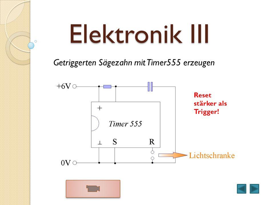 Elektronik III Getriggerten Sägezahn mit Timer555 erzeugen Reset stärker als Trigger!