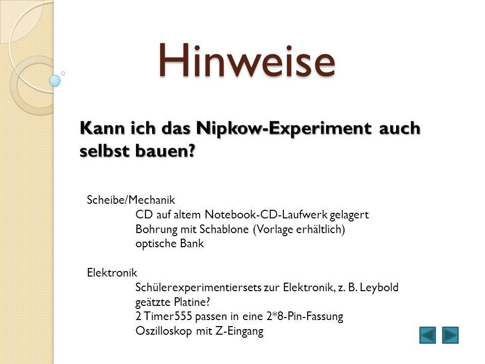 Hinweise Kann ich das Nipkow-Experiment auch selbst bauen? Scheibe/Mechanik CD auf altem Notebook-CD-Laufwerk gelagert Bohrung mit Schablone (Vorlage