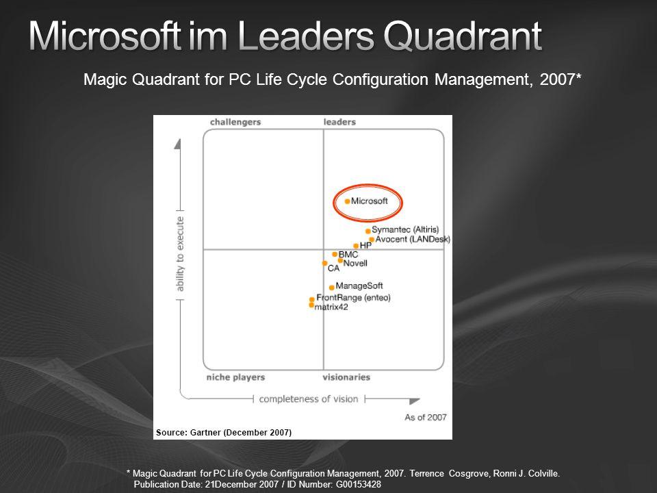 Magic Quadrant for PC Life Cycle Configuration Management, 2007* * Magic Quadrant for PC Life Cycle Configuration Management, 2007. Terrence Cosgrove,