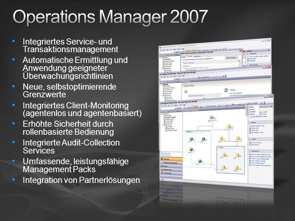 Integriertes Service- und Transaktionsmanagement Automatische Ermittlung und Anwendung geeigneter Überwachungsrichtlinien Neue, selbstoptimierende Gre
