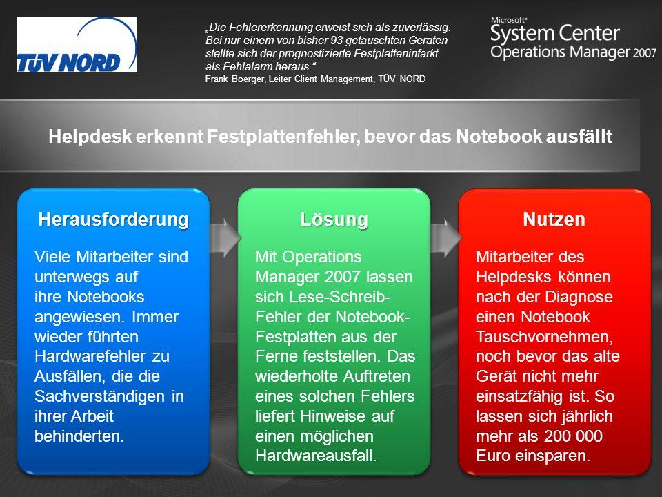 Helpdesk erkennt Festplattenfehler, bevor das Notebook ausfällt Die Fehlererkennung erweist sich als zuverlässig.
