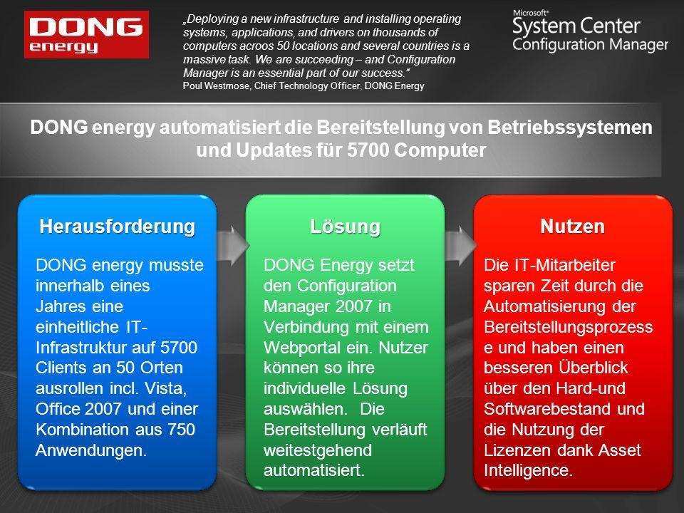 DONG energy automatisiert die Bereitstellung von Betriebssystemen und Updates für 5700 Computer Deploying a new infrastructure and installing operatin