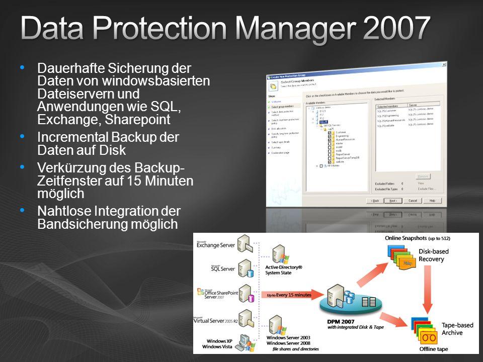 Dauerhafte Sicherung der Daten von windowsbasierten Dateiservern und Anwendungen wie SQL, Exchange, Sharepoint Incremental Backup der Daten auf Disk Verkürzung des Backup- Zeitfenster auf 15 Minuten möglich Nahtlose Integration der Bandsicherung möglich
