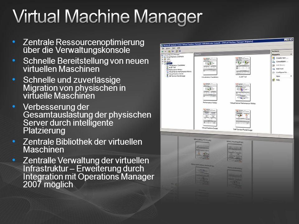 Zentrale Ressourcenoptimierung über die Verwaltungskonsole Schnelle Bereitstellung von neuen virtuellen Maschinen Schnelle und zuverlässige Migration