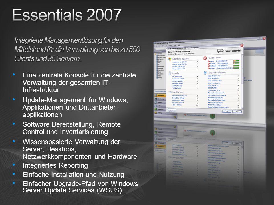 Eine zentrale Konsole für die zentrale Verwaltung der gesamten IT- Infrastruktur Update-Management für Windows, Applikationen und Drittanbieter- appli