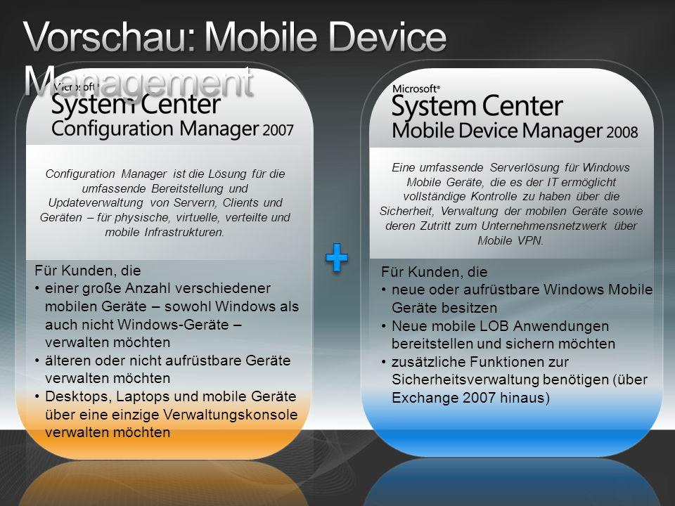 Eine umfassende Serverlösung für Windows Mobile Geräte, die es der IT ermöglicht vollständige Kontrolle zu haben über die Sicherheit, Verwaltung der mobilen Geräte sowie deren Zutritt zum Unternehmensnetzwerk über Mobile VPN.
