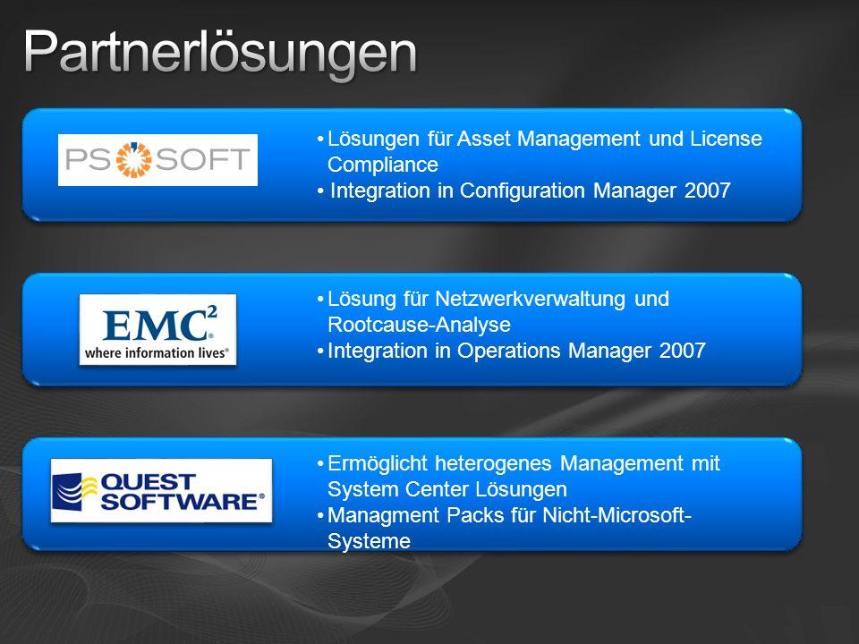 Lösungen für Asset Management und License Compliance Integration in Configuration Manager 2007 Lösung für Netzwerkverwaltung und Rootcause-Analyse Integration in Operations Manager 2007 Ermöglicht heterogenes Management mit System Center Lösungen Managment Packs für Nicht-Microsoft- Systeme