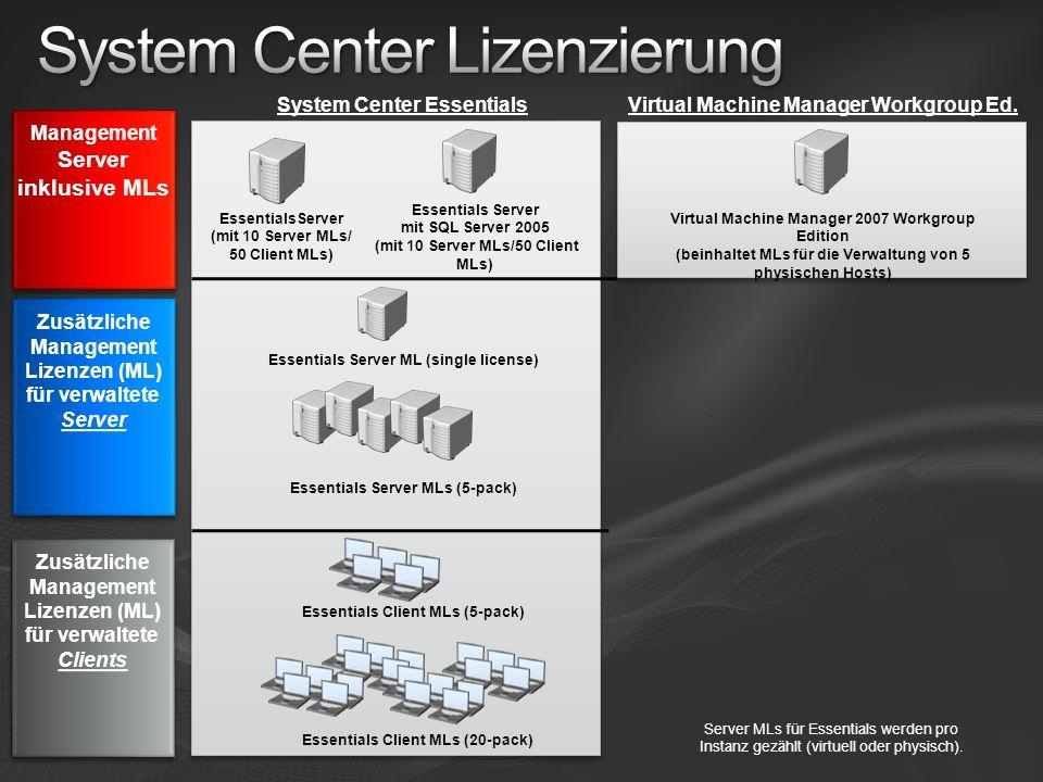 EssentialsServer (mit 10 Server MLs/ 50 Client MLs) Essentials Server ML (single license) Essentials Server mit SQL Server 2005 (mit 10 Server MLs/50 Client MLs) System Center Essentials Essentials Server MLs (5-pack) Essentials Client MLs (5-pack) Essentials Client MLs (20-pack) Zusätzliche Management Lizenzen (ML) für verwaltete Server Zusätzliche Management Lizenzen (ML) für verwaltete Server Server MLs für Essentials werden pro Instanz gezählt (virtuell oder physisch).