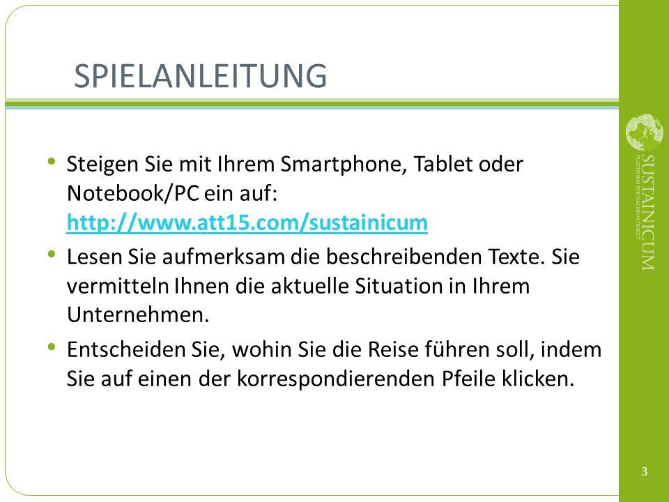 SPIELANLEITUNG 3 Steigen Sie mit Ihrem Smartphone, Tablet oder Notebook/PC ein auf: http://www.att15.com/sustainicum http://www.att15.com/sustainicum