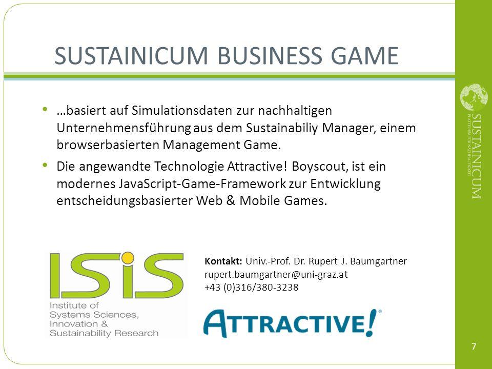 SUSTAINICUM BUSINESS GAME 7 Kontakt: Univ.-Prof. Dr. Rupert J. Baumgartner rupert.baumgartner@uni-graz.at +43 (0)316/380-3238 …basiert auf Simulations