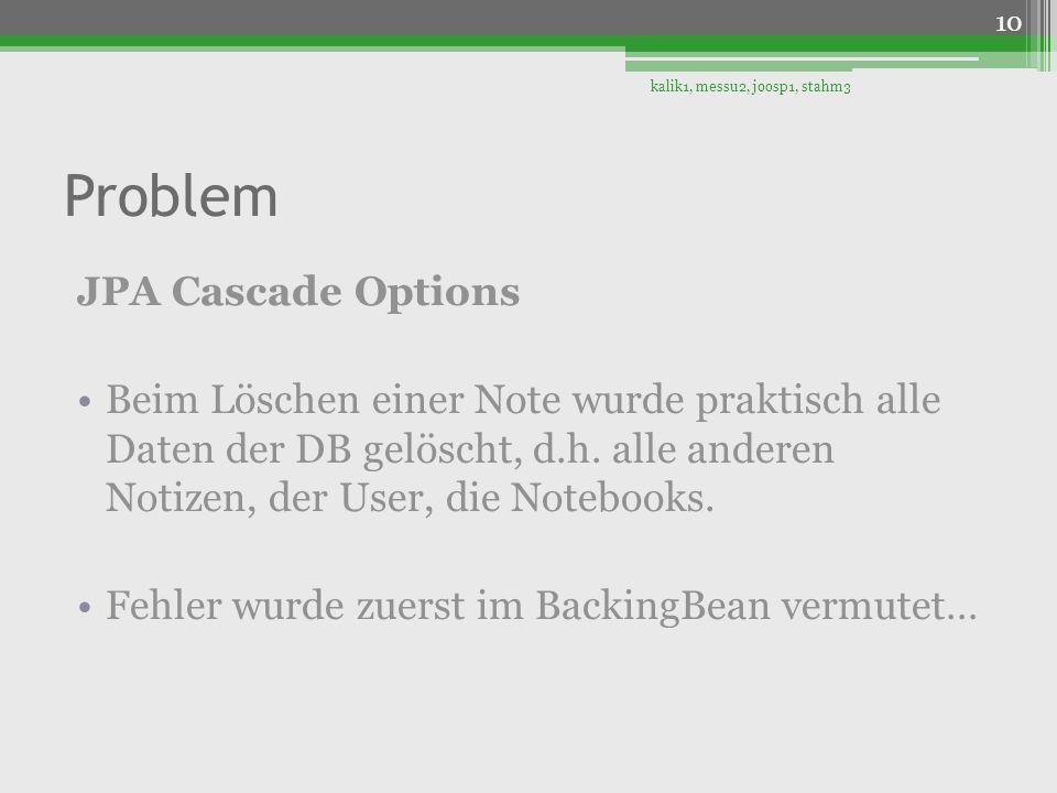Problem JPA Cascade Options Beim Löschen einer Note wurde praktisch alle Daten der DB gelöscht, d.h. alle anderen Notizen, der User, die Notebooks. Fe