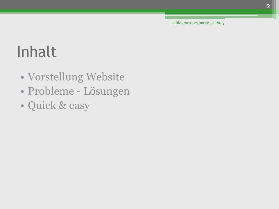 Inhalt Vorstellung Website Probleme - Lösungen Quick & easy 2 kalik1, messu2, joosp1, stahm3