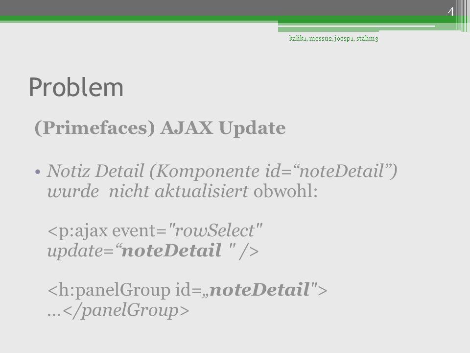 Problem (Primefaces) AJAX Update Notiz Detail (Komponente id=noteDetail) wurde nicht aktualisiert obwohl: … kalik1, messu2, joosp1, stahm3 4