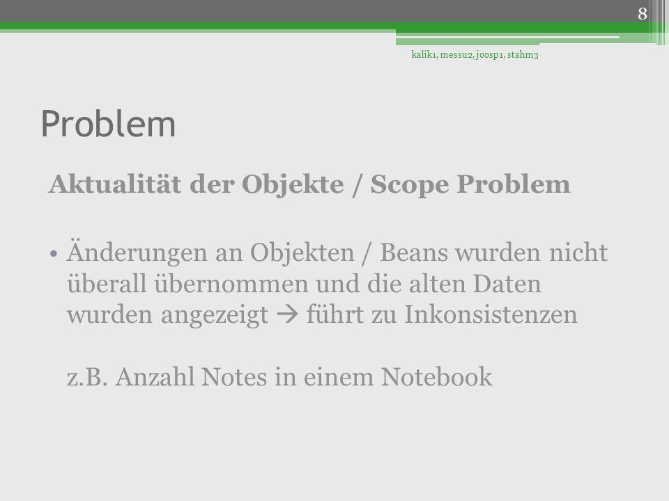 Problem Aktualität der Objekte / Scope Problem Änderungen an Objekten / Beans wurden nicht überall übernommen und die alten Daten wurden angezeigt füh
