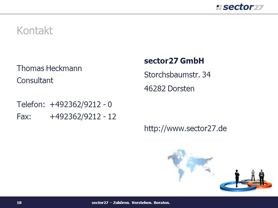 sector27 – Zuhören. Verstehen. Beraten.18 Kontakt Thomas Heckmann Consultant Telefon: +492362/9212 - 0 Fax: +492362/9212 - 12 sector27 GmbH Storchsbau