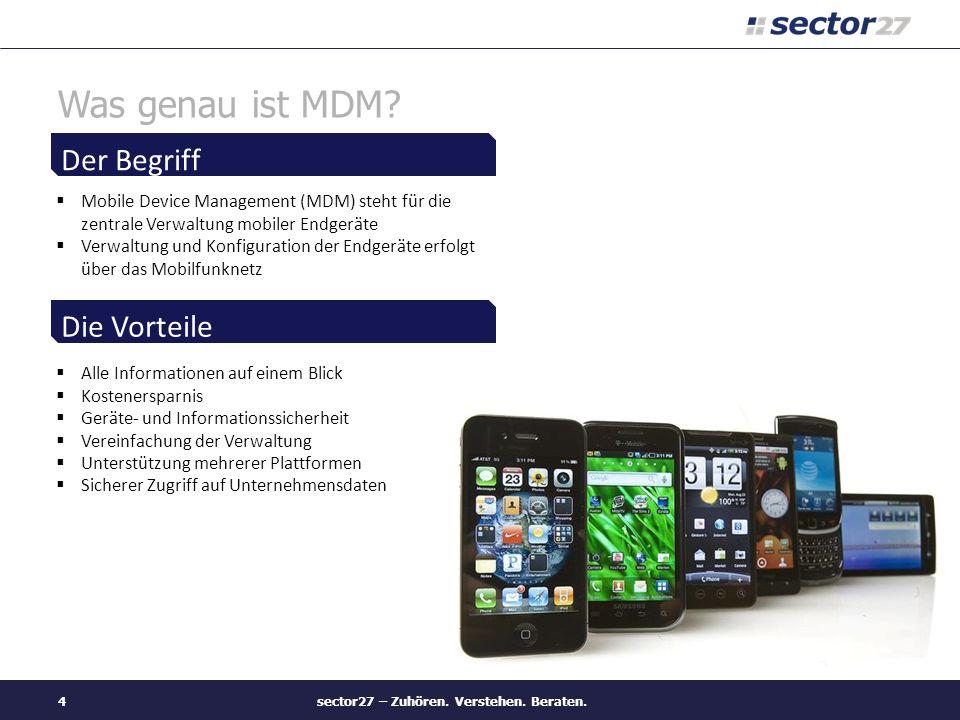 Was genau ist MDM? Mobile Device Management (MDM) steht für die zentrale Verwaltung mobiler Endgeräte Verwaltung und Konfiguration der Endgeräte erfol