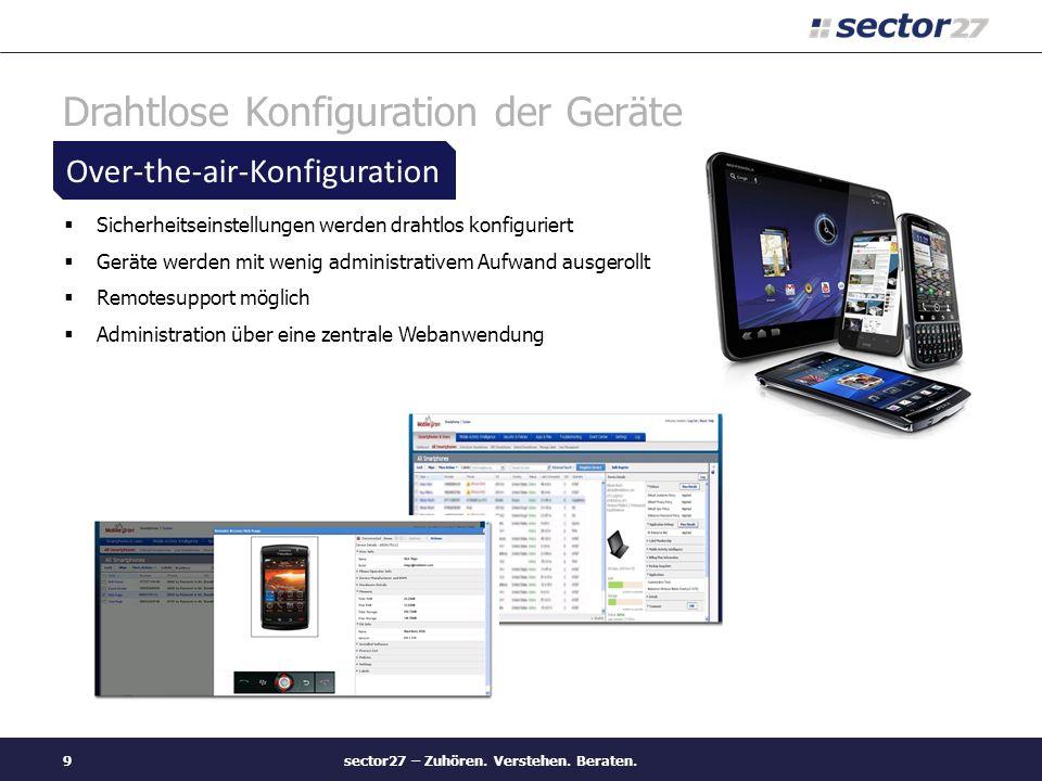 Drahtlose Konfiguration der Geräte Sicherheitseinstellungen werden drahtlos konfiguriert Geräte werden mit wenig administrativem Aufwand ausgerollt Re