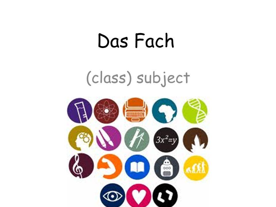 Das Fach (class) subject