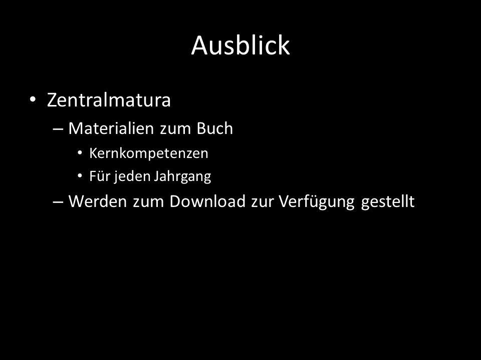 Ausblick Zentralmatura – Materialien zum Buch Kernkompetenzen Für jeden Jahrgang – Werden zum Download zur Verfügung gestellt