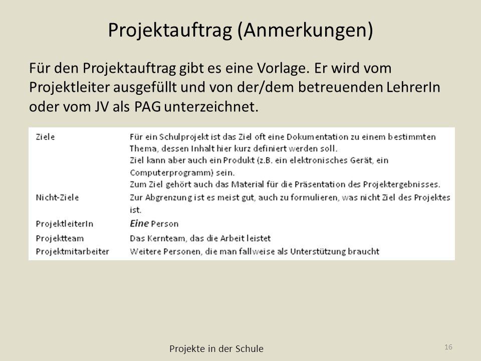 Projektauftrag (Anmerkungen) Für den Projektauftrag gibt es eine Vorlage. Er wird vom Projektleiter ausgefüllt und von der/dem betreuenden LehrerIn od