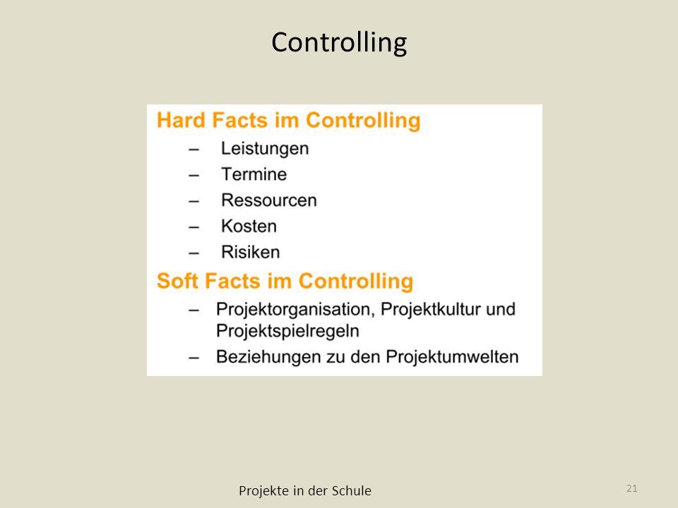 Controlling Projekte in der Schule 21