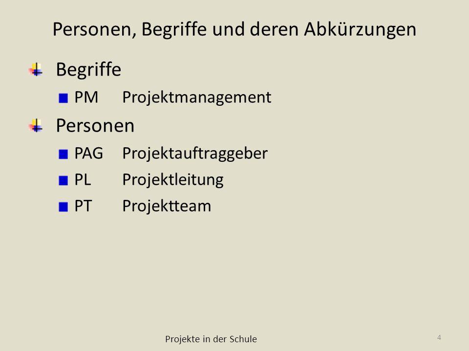 Personen, Begriffe und deren Abkürzungen Begriffe PMProjektmanagement Personen PAGProjektauftraggeber PLProjektleitung PTProjektteam Projekte in der S