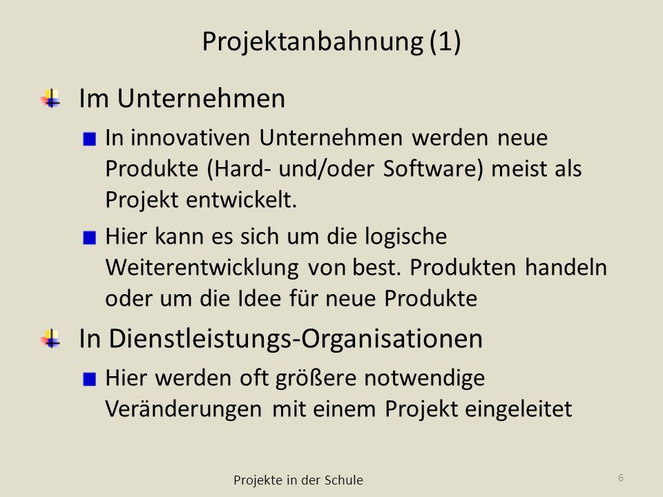 Projektanbahnung (1) Im Unternehmen In innovativen Unternehmen werden neue Produkte (Hard- und/oder Software) meist als Projekt entwickelt. Hier kann