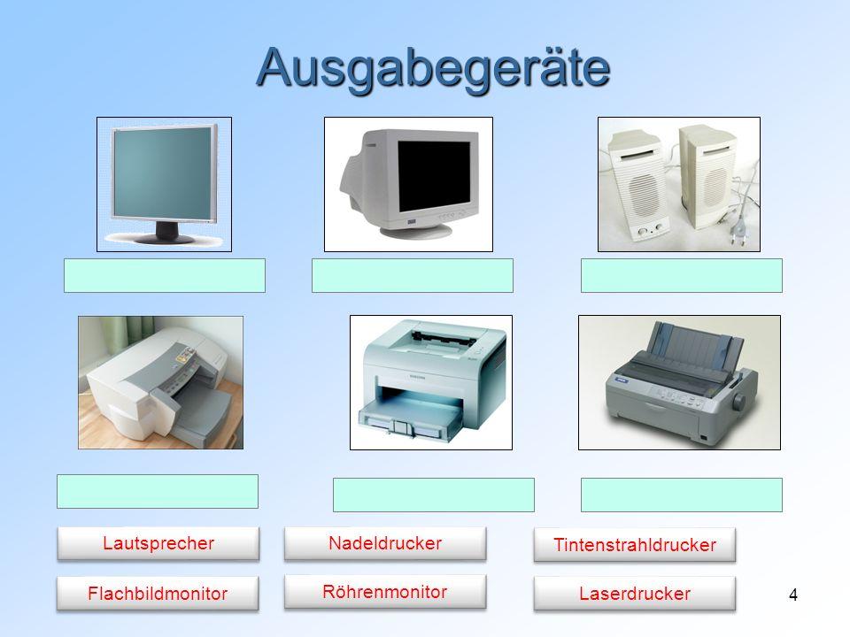 4 Ausgabegeräte Flachbildmonitor Röhrenmonitor Lautsprecher Nadeldrucker Laserdrucker Tintenstrahldrucker