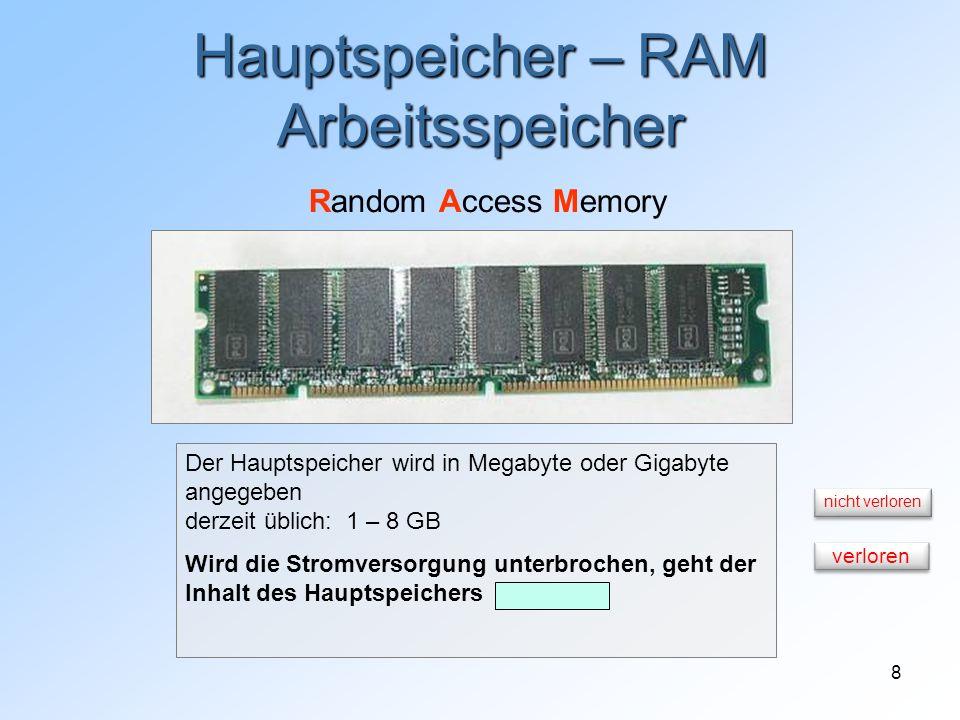 8 Hauptspeicher – RAM Arbeitsspeicher Random Access Memory Der Hauptspeicher wird in Megabyte oder Gigabyte angegeben derzeit üblich: 1 – 8 GB Wird di
