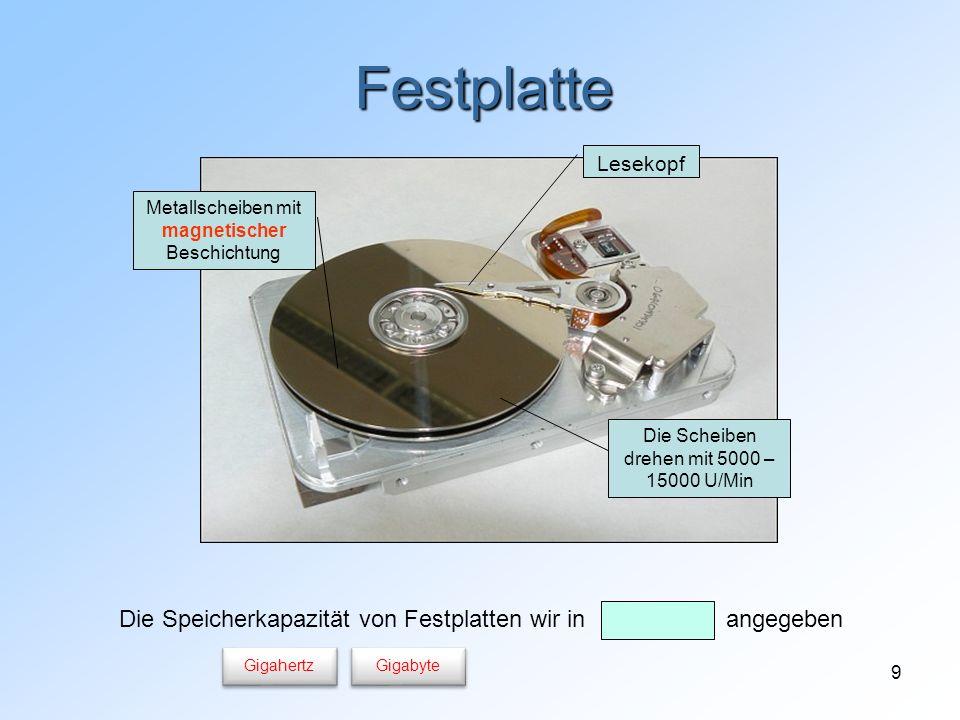 10 CD/DVD-Laufwerk (Brenner) CD und DVD sind optische Speichermedien CD-R: kann beschrieben werden CD-RW kann beschrieben werden oft einmal