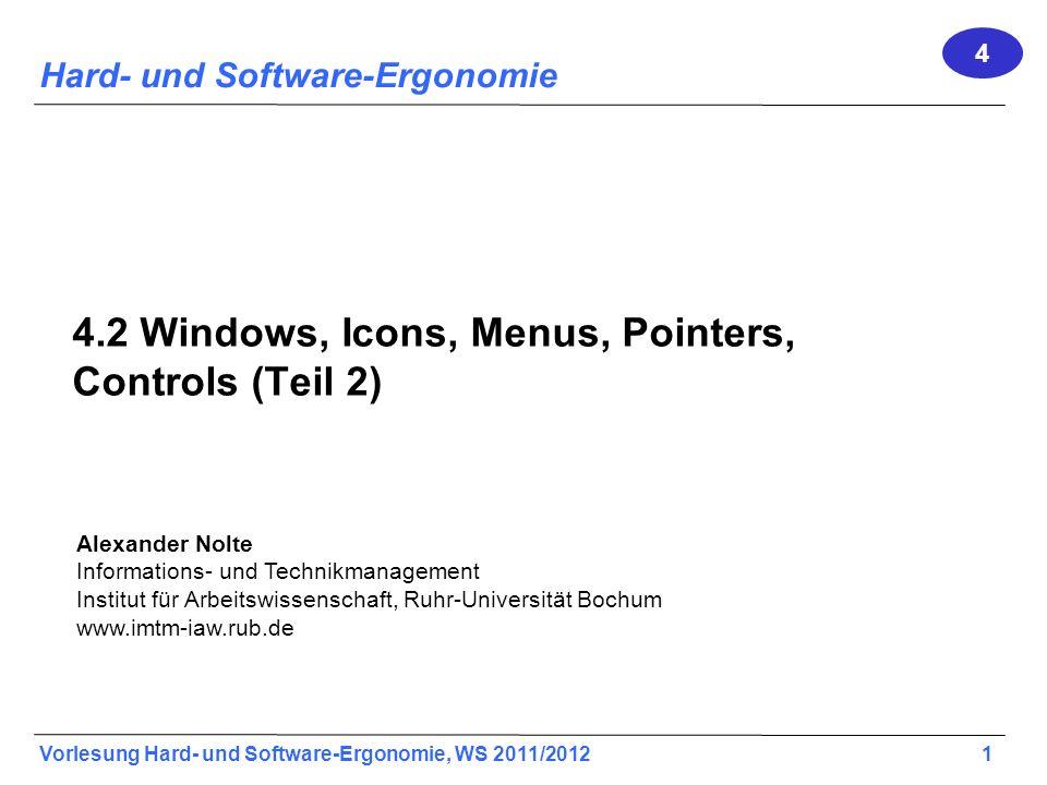 Alexander Nolte Informations- und Technikmanagement Institut für Arbeitswissenschaft, Ruhr-Universität Bochum www.imtm-iaw.rub.de Vorlesung Hard- und