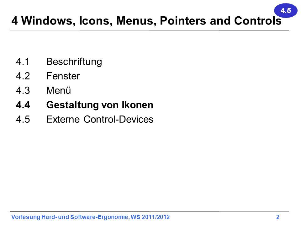 Vorlesung Hard- und Software-Ergonomie, WS 2011/2012 2 4 Windows, Icons, Menus, Pointers and Controls 4.1Beschriftung 4.2Fenster 4.3Menü 4.4 Gestaltun