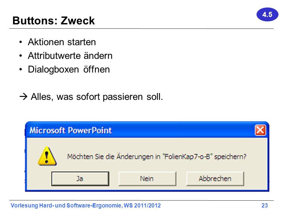 Vorlesung Hard- und Software-Ergonomie, WS 2011/2012 23 Buttons: Zweck Aktionen starten Attributwerte ändern Dialogboxen öffnen Alles, was sofort pass