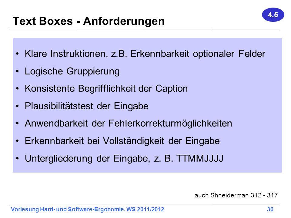 Vorlesung Hard- und Software-Ergonomie, WS 2011/2012 30 Text Boxes - Anforderungen Klare Instruktionen, z.B. Erkennbarkeit optionaler Felder Logische