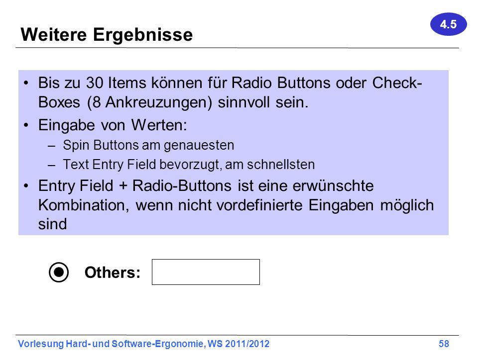 Vorlesung Hard- und Software-Ergonomie, WS 2011/2012 58 Weitere Ergebnisse Bis zu 30 Items können für Radio Buttons oder Check- Boxes (8 Ankreuzungen)