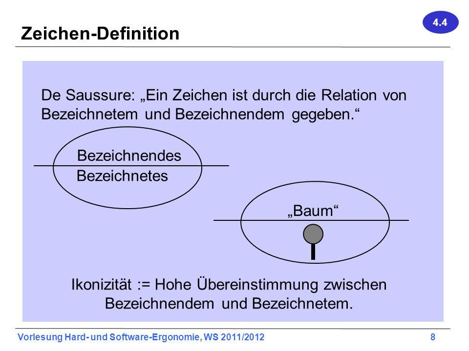 Vorlesung Hard- und Software-Ergonomie, WS 2011/2012 8 Zeichen-Definition De Saussure: Ein Zeichen ist durch die Relation von Bezeichnetem und Bezeich