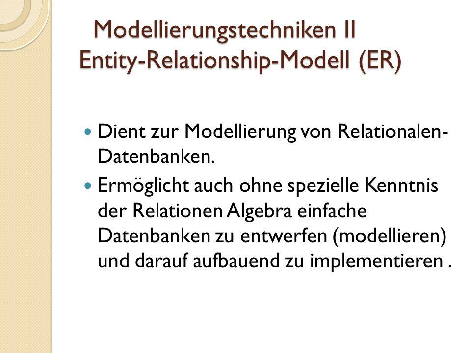 Modellierungstechniken II Beispiel zu ER CD-TitelInterpret gesungen ID_Titelnummer Name Spieldauer ID_Interpret Name Attribut Beziehung Entität ID_Interpret (FK) Gründungsjahr