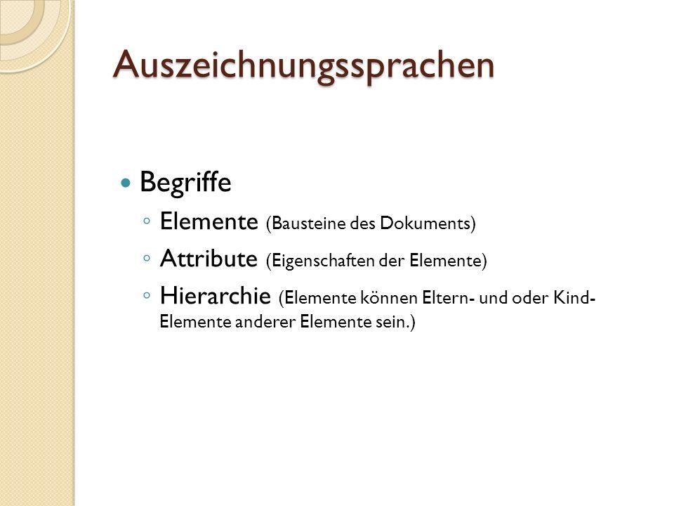 Grundidee Titel->Eine Einführung in Auszeichnungssprachen<-Titel Überschrift1->Motivation<-Überschrift1 Absatz->Auszeichnungssprachen ….